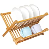 Rubik Collapsible Bamboo Dish Drying Water Drain Rack Foldable Portable Natural Wood Dish Holder Rack