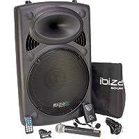 """Ibiza PORT15VHF-BT - Sistema de sonido portátil y autónomo de 15"""", 450 W"""