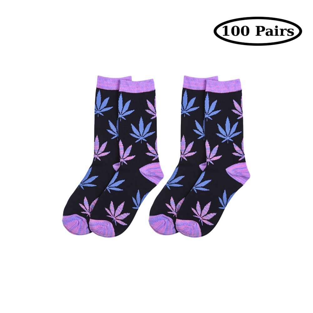 Purple Qraftsy Trendy colorful Everyday Wear Leaf Crew Socks Size 911  100 Pairs