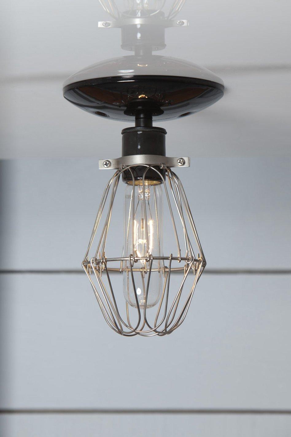 Vintage Wire Cage Light Ceiling Mount - Black - - Amazon.com