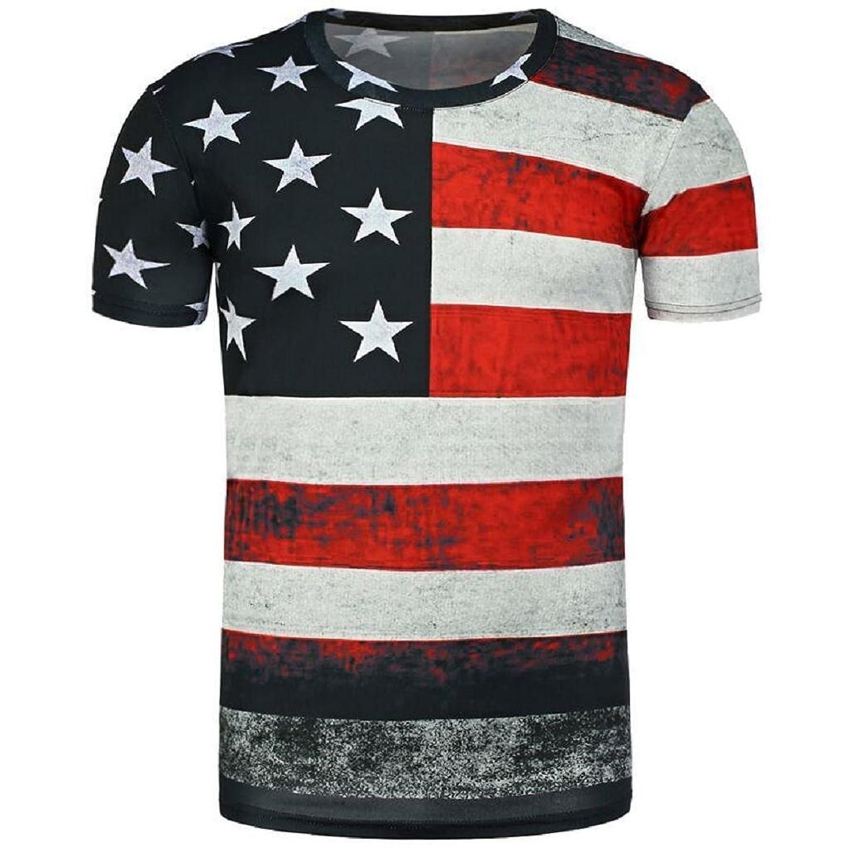 VIASA Men Boy Summer Casual Printing Short Sleeve T-shirt