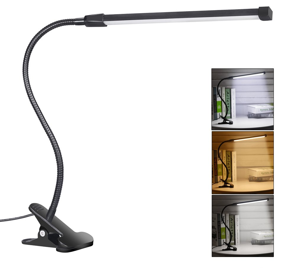 Svance 8W LED Clip Lamp / Desk Light , 3 Modes (Study / Read / Relax), Dimmable with 10 Levels of Brightness (Black)