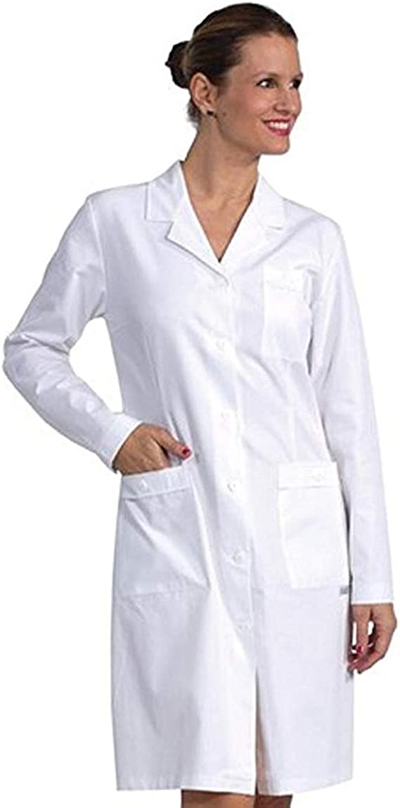 Fratelliditalia - Camisa blanca para mujer de laboratorio, médica, trabajo de mezcla de algodón, fabricada en Italia, de tejido ligero, transpirable, tallas fuertes para mujer 40 a 64 sanforizado Bianco L: Amazon.es: