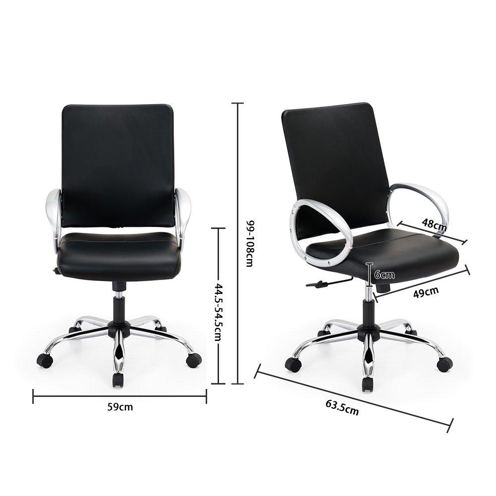 Noir 2 Chaise pour Ordinateur Si/ège en Similicuir Hauteur R/églable Ergonomique et Moderne IntimaTe WM Heart Fauteuil de Bureau