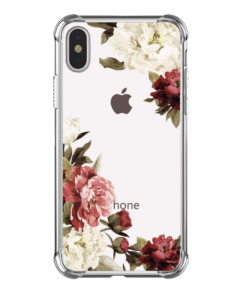 True Holiday iPhone XS Case iPhone X Case Clear Flower Pattern Soft Flexible Protective Case Shockproof Anti Scratch Ultra Thin TPU Silicone Cover for iPhone XS/X Case Rose Flower