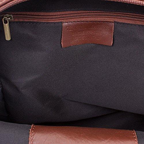 FIRENZE ARTEGIANI.Mochila de mujer casual piel auténtica.Mochila bolso grande cuero genuino Savage tacto suave y acabados de lujo. MADE IN ITALY. VERA PELLE ITALIANA. 30x34x14 cm. Color: MARRON