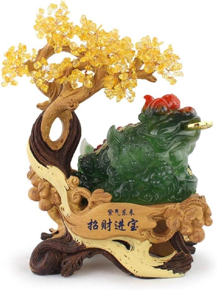 LiangDa Árbol De Gemas Crystal Tree Feng Shui de la Gema del árbol del Dinero for Ministerio Salón Adornos Feng Shui De Piedras Preciosas (Color : Dark Green, Size : 34x18.5x45cm)
