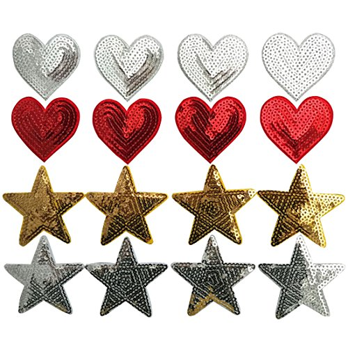 Yazon 20Pcs Iron On Embroidered Applique Sequin Patches For Clips Jeans Clothing