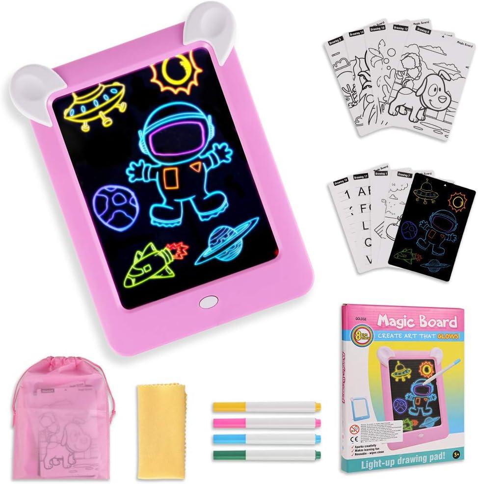 GOLDGE Tablero de Dibujo Mágico, Pizarra Magnética Conjunto Infantil Dibujo & Marco de Fotos Regalos Juguetes para Niños Boceto, Arte, Juguetes Educativos (Rosado)