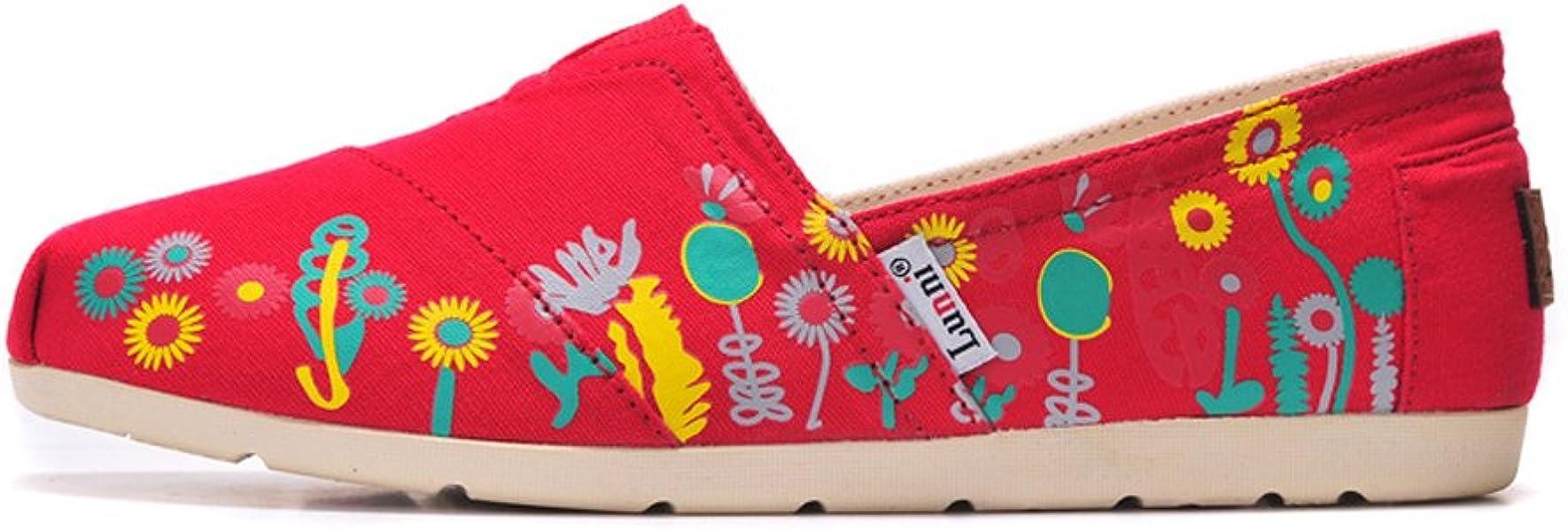 Lunni Floral Lienzo Zapatos de la Mujer Rojo
