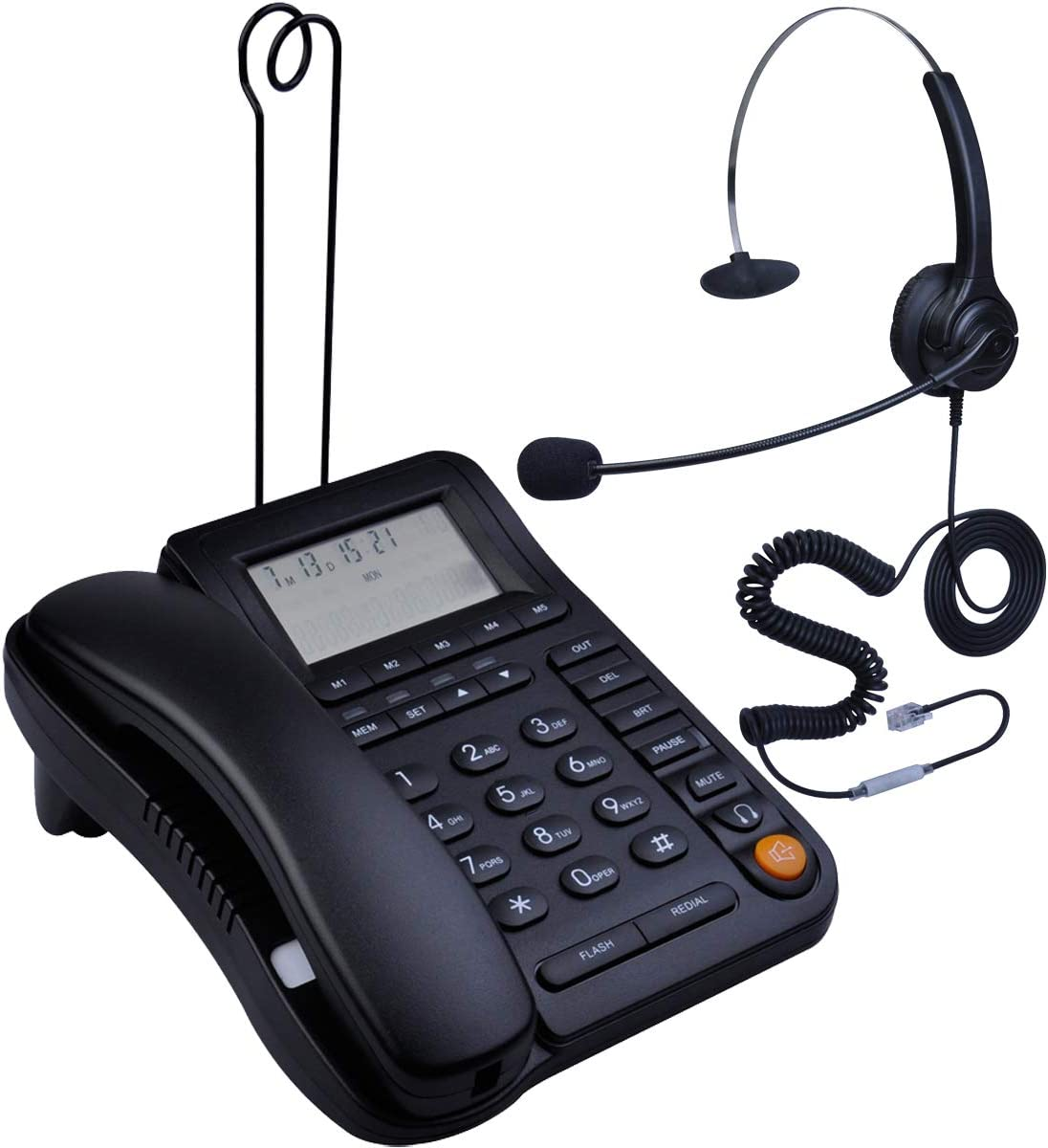 HePesTer P-017BN-2 Call Center Corded Phone with Headset Caller ID Speakerphone Home Office Landline Telephone