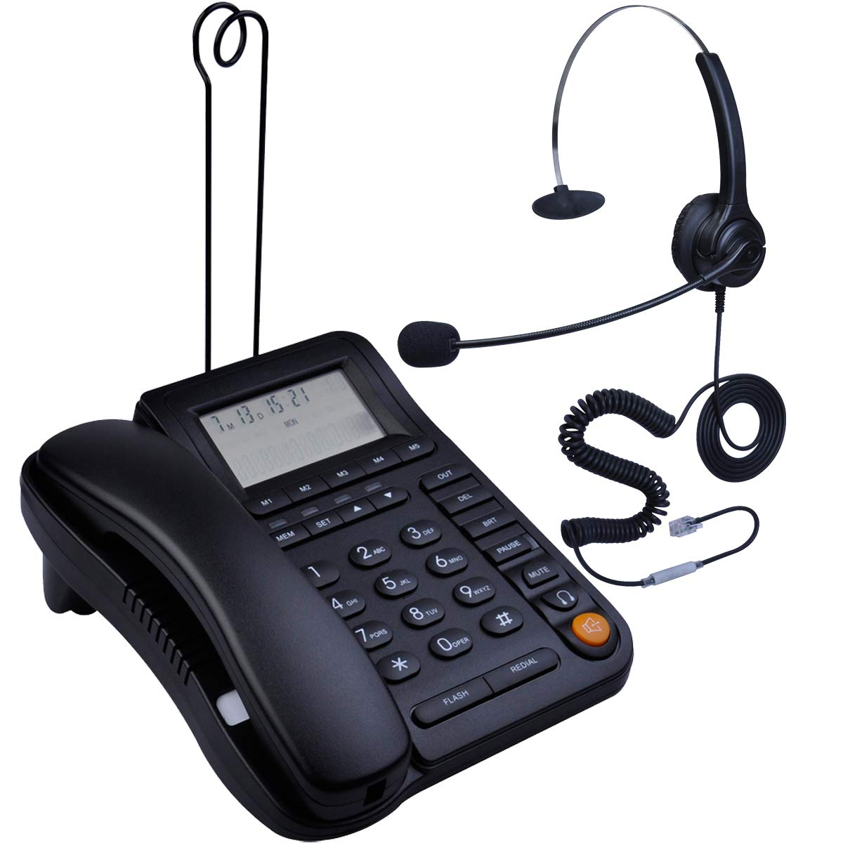 HePesTer P-017BN-2 Call Center Corded Phone with Headset Caller ID Speakerphone Home Office Landline Telephone by HePesTer