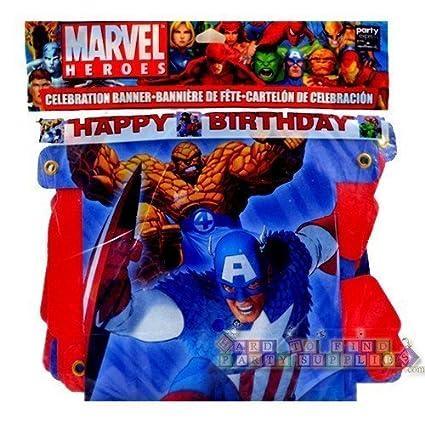 Amazon.com: Marvel Heroes pancarta de feliz fiesta de ...