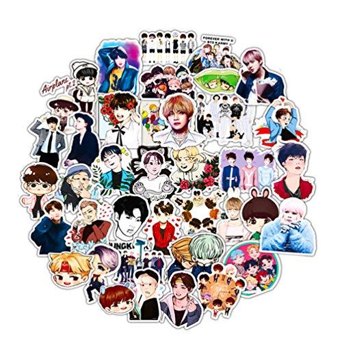 BTS Kpop Laptop Stickers for Teens Cute Water Bottles Phone Computer Skateboard Luggage Helmet Graffiti Decals 50pcs Pack