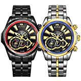 BUREI Mens Business Chronograph Watches with Analog Dial Multi-function Sapphire Lens Metal Band