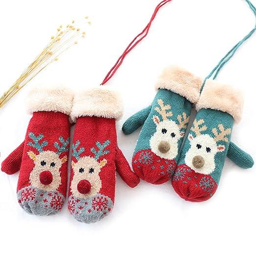 chicnchic women winter mittens gloves cartoon elk plush lined cuff warm knit gloves christmas gift - Christmas Mittens