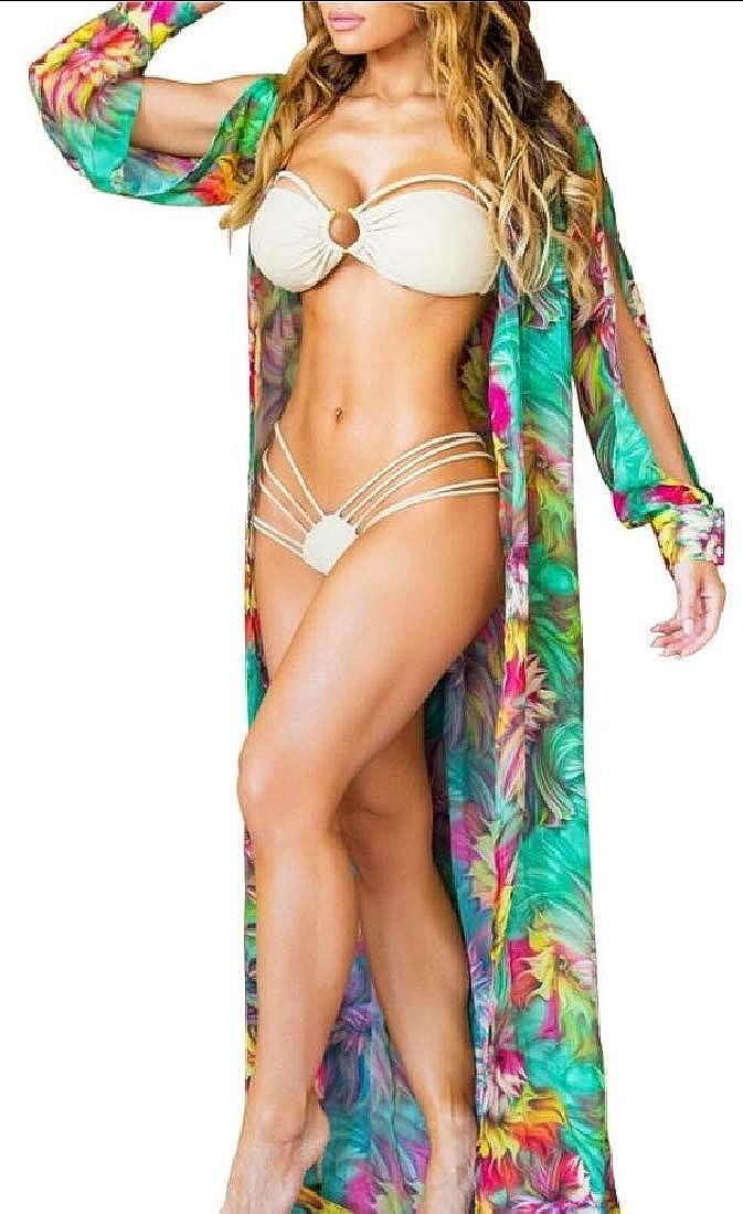 dahuo Cardigan da Donna a Kimono Lungo Leggero