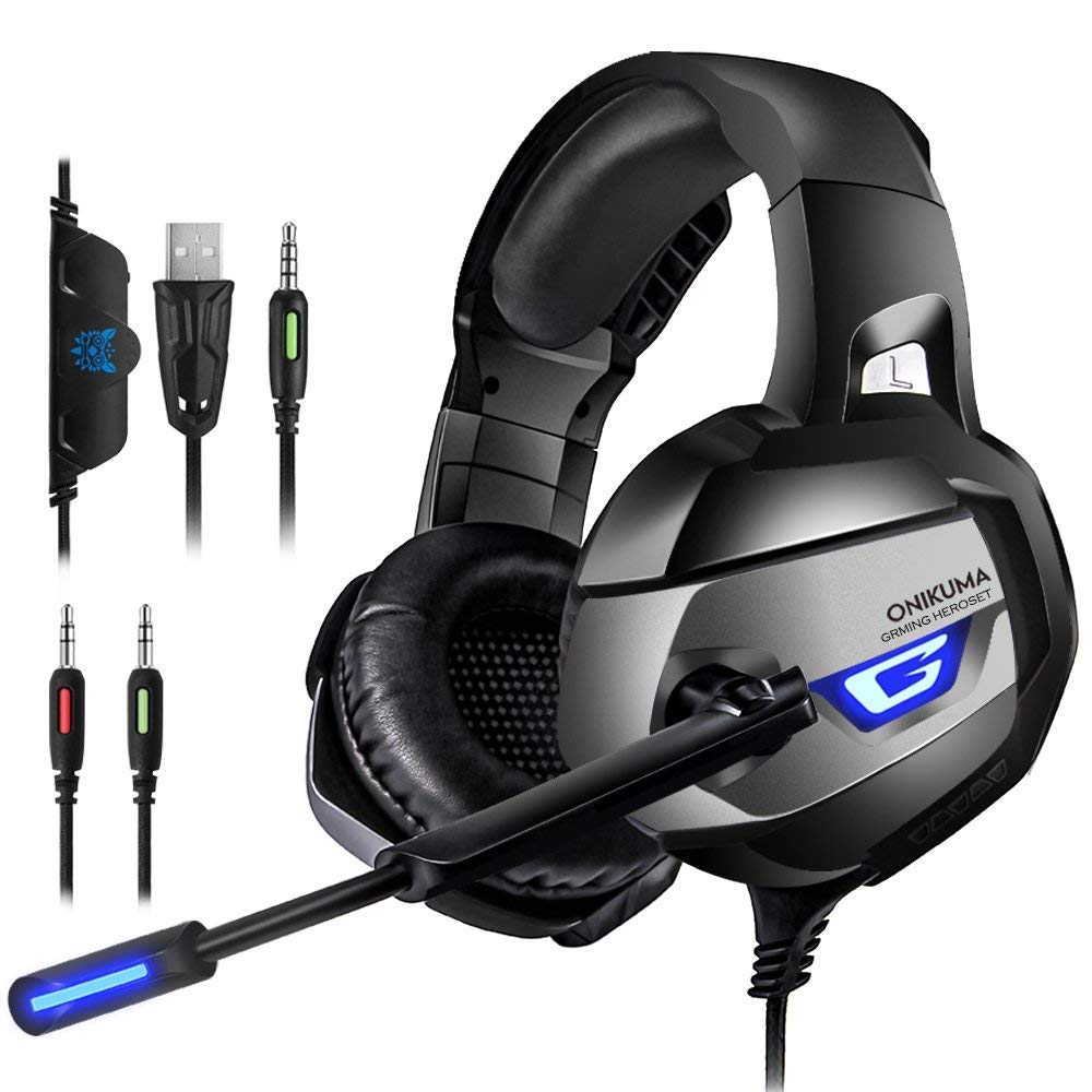 Gaming Headset Over-Ear Headphones with Mic for PS4 Xbox One PC, 3.5mm AUX, Stereo Bass Sound, Noise- Isolating, LED Light and Volume Control for Laptop Smartphones Tablet PC Jeecoo Onikuma-K5