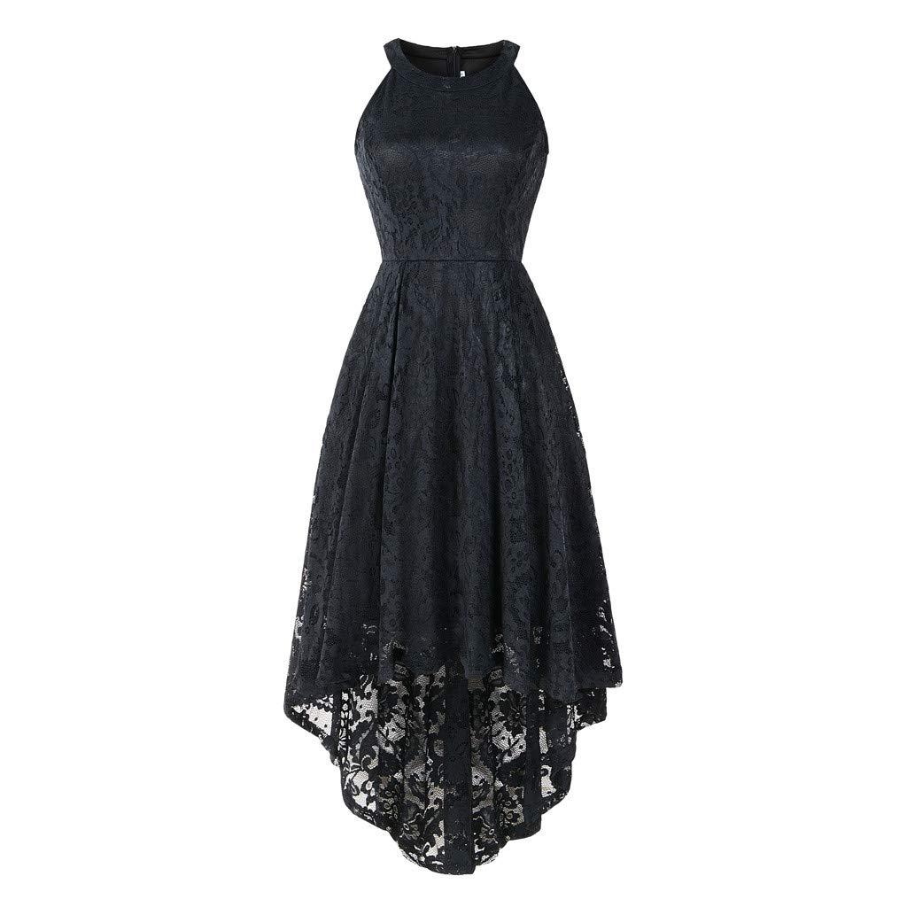 Black BCDshop Women's Halter Floral Lace Cocktail Party Dress Vintage Formal Swing Dresses