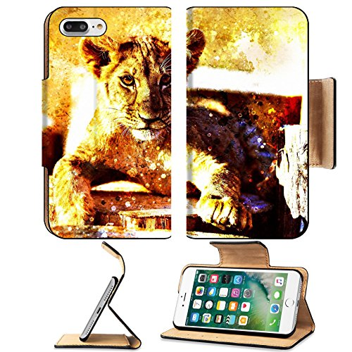 Luxlady Premium Apple iPhone 7 Plus Flip Pu Leather Wallet Case iPhone7 Plus 43642239 Lion cub in nature with blue sky and wooden log eye contact Abstract Collage