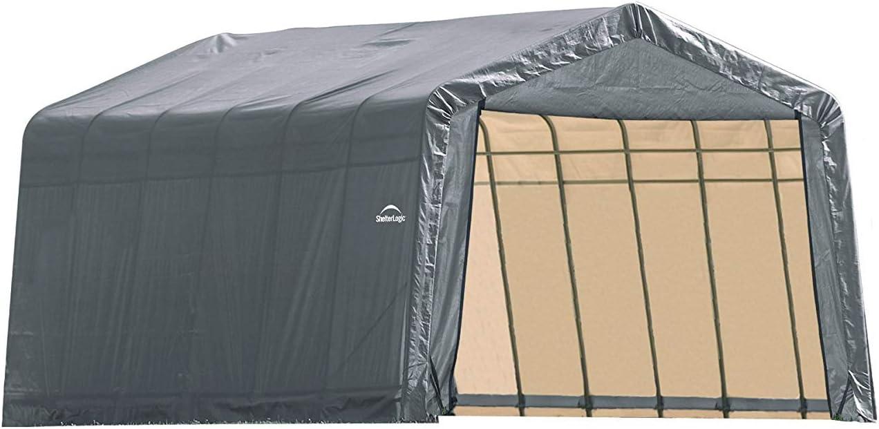Amazon Com Shelterlogic 12ft W House Style Portable Garage Carport 28ft L X 12ft W X 10ft H Furniture Decor