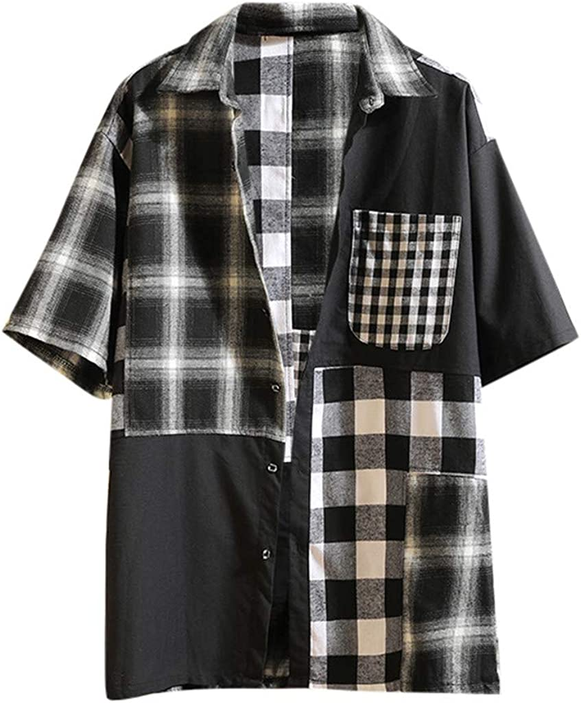 Moda De Verano De Manga Corta De Tela Escocesa De Costura Casual para Hombre Camisa Chaqueta Superior Blusa: Amazon.es: Ropa y accesorios