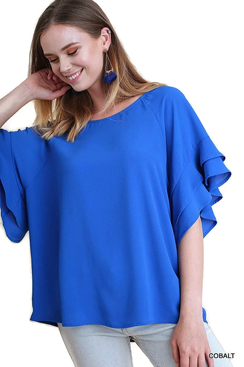 6464f664 Bohemian Layered Ruffle Sleeve Blouse Tunic Top Layered Ruffle sleeve :  scoop neckline : dropped shoulder : Light weight : A-line shape : soft  silky feel ...