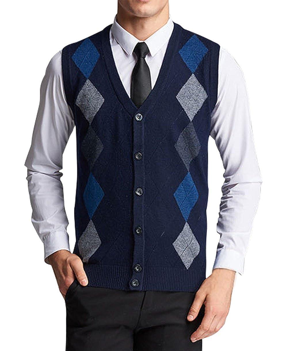 Lyamazing Men's V-Neck Argyle Pattern Button Down Sweater Vest Cardigan