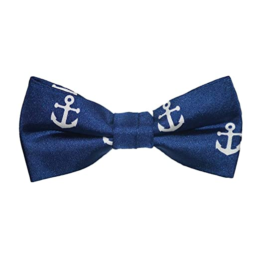797a59265208 SummerTies Anchor Kids Bow Tie - White on Navy, Printed Silk, Kids Pre-