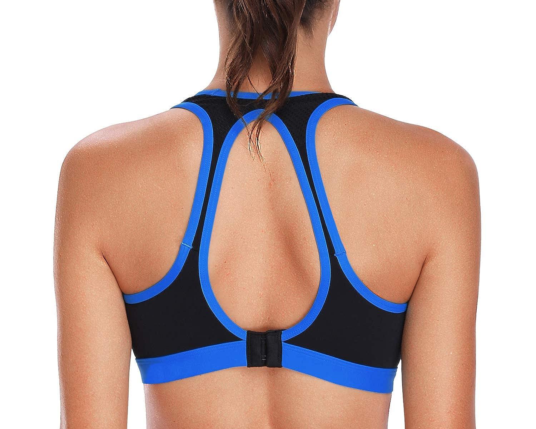 bluee Open Back vivicoco Women's Sports Bras Low and Medium Impact Yoga Sports Bra