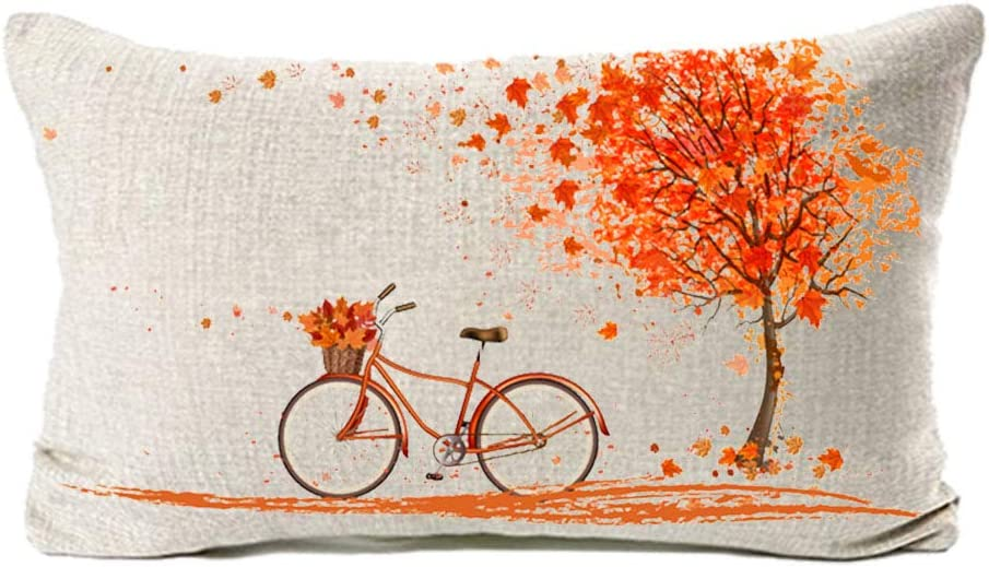 MFGNEH Home Decorations Red Leaves and Bicycle Cotton Linen Pillow Covers 12x20,Fall Decor Throw Pillow Case Cushion Cover for Sofa