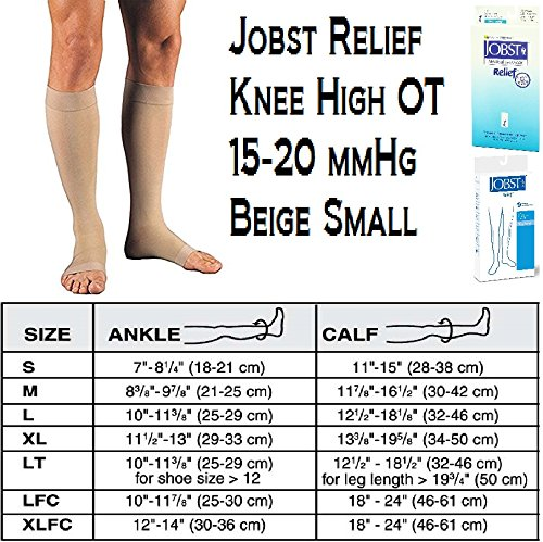 Toe Med Leg Beige Right (Jobst Relief Knee High Moderate Compression 15-20, Open Toe Silky Beige, Small)