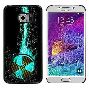 KOKO CASE / Samsung Galaxy S6 EDGE SM-G925 / signo nuclear símbolo de peligro del arte de la hélice / Delgado Negro Plástico caso cubierta Shell Armor Funda Case Cover