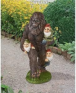 Design Toscano QM16042 Schlepping Gnomes Bigfoot Yeti Garden Statue, 16 Inch, Full Color