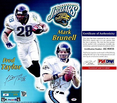 Mark Brunell and Fred Taylor Signed - Autographed Jacksonville Jaguars Jags 16x20 inch Photo - Certificate of Authenticity (COA) - PSA/DNA Certified