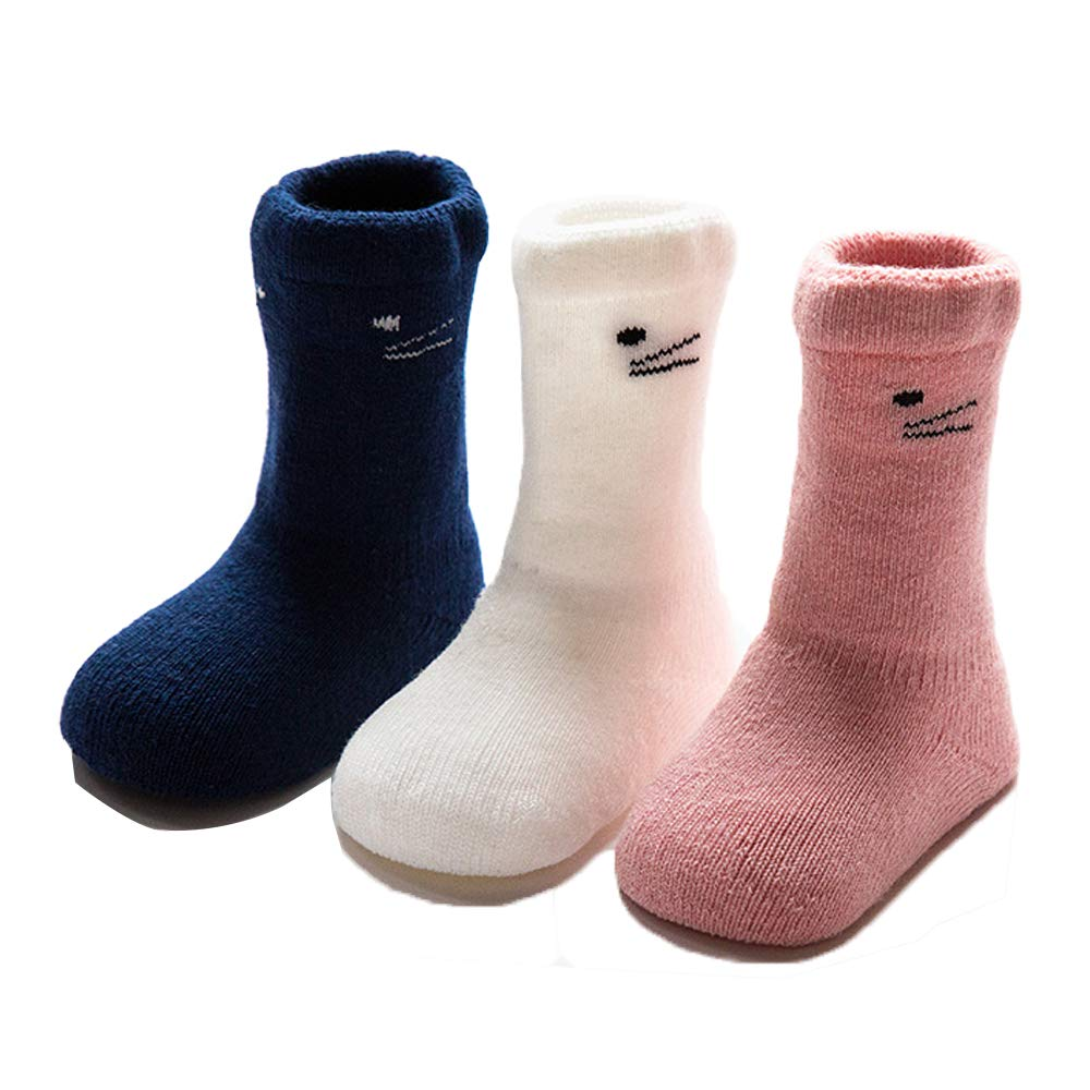 3 Pack Baby Socks Kids Toddlers Cute Thick Warm Cotton Socks for Boys or Girls 0-3 years