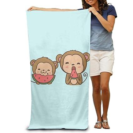 Macevoy Mono bebé Comer sandía adultos Super absorbente toalla de playa toallas de playa