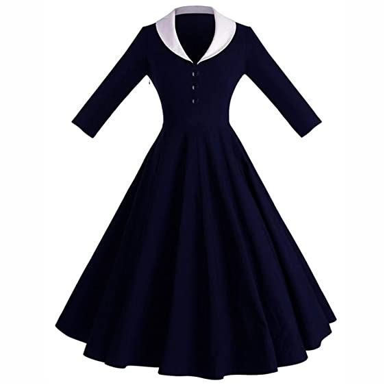 Big Hem button Party Dresses New Women Feminino Vestidos Dress Audery Vintage Elegant Three Quarter Sleeve