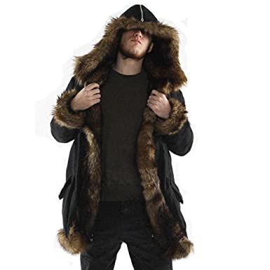 Mens Winter Coat with Fur Lining Warm Thicken Long Hoodie Jacket Faux Fur Parka Outwear Big and Tall Cardigan at Amazon Mens Clothing store: