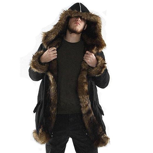 WUYIMC Men Faux Fur Parka Outwear, Winter Mens Warm Thicker Long Hoodie Jacket Coat Cardigan