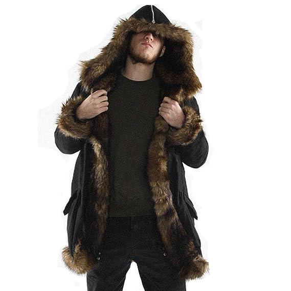 Manadlian Mode Herren Warm Jacke Schwarz Dick Mantel Kunstpelz Long Parka Outwear Strickjacke Outwear