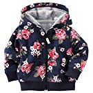 Carter's Girl's Navy Rose Print French Terry Hoodie (6 Months)