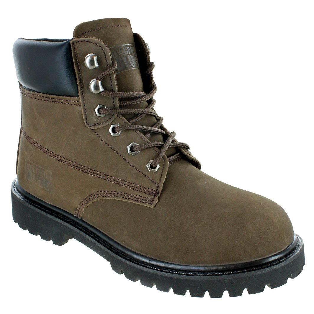 Rugged Blue EST115-Brown-STEEL-7M Original Steel Toe Work Boots - Brown - 7M, English, Capacity, Volume, Leather, 7M, Brown ()