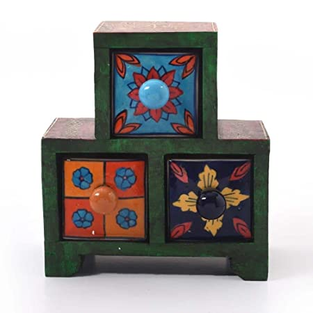 Creative Studio Wooden Ceramic Blue Pottery Triple Drawer Set