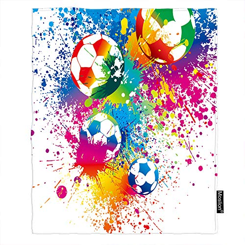Moslion Football Blanket Sports Passion Rainbow Color Soccer Balls Doodle Blot Polka Dot Throw Blanket Flannel Home Decorative Soft Cozy Blankets 60x80 Inch for Adults Kids Sofa