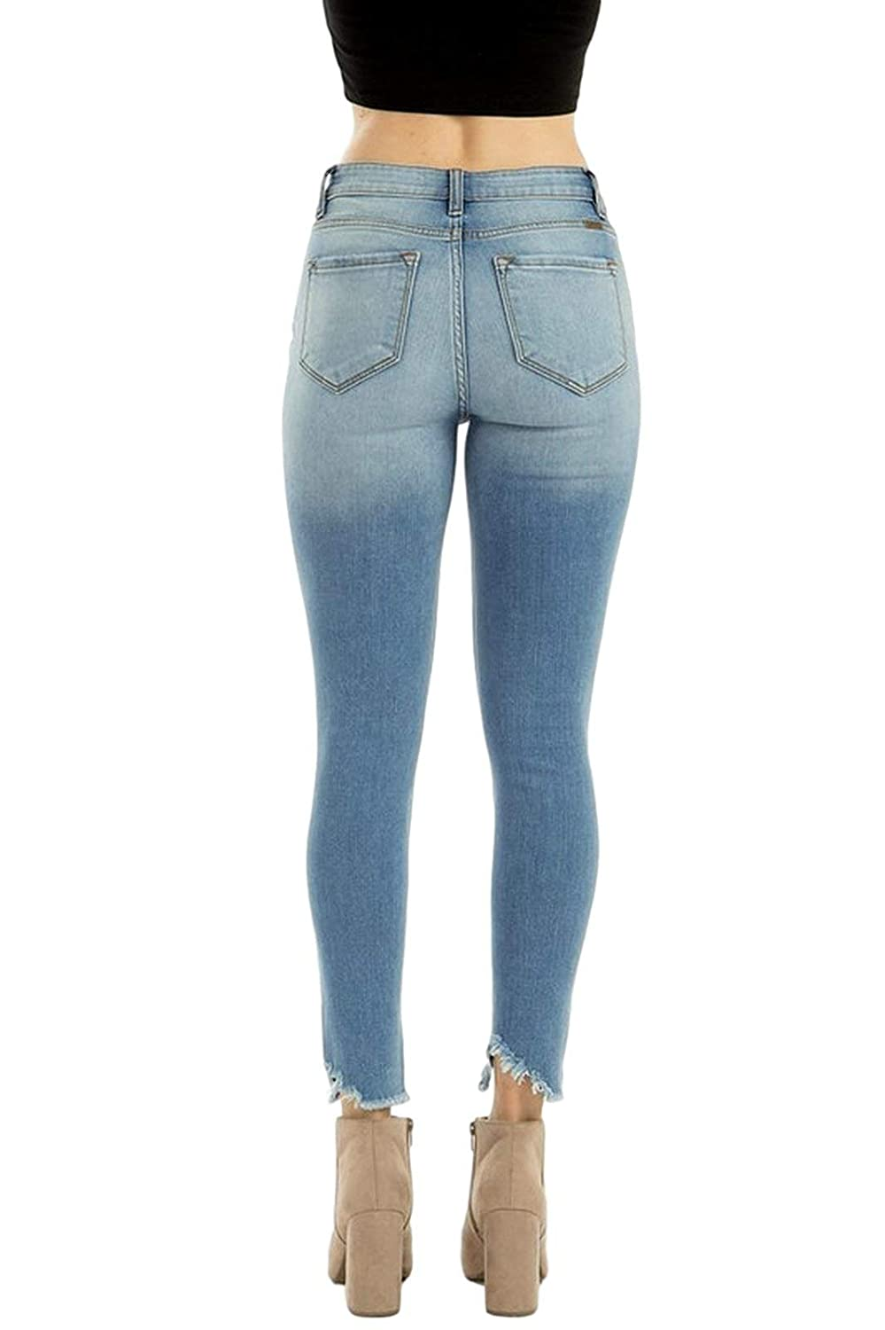 60% discount beautiful style shop for authentic Kan Can Women's High Rise Destroyed Cropped Skinny Jeans