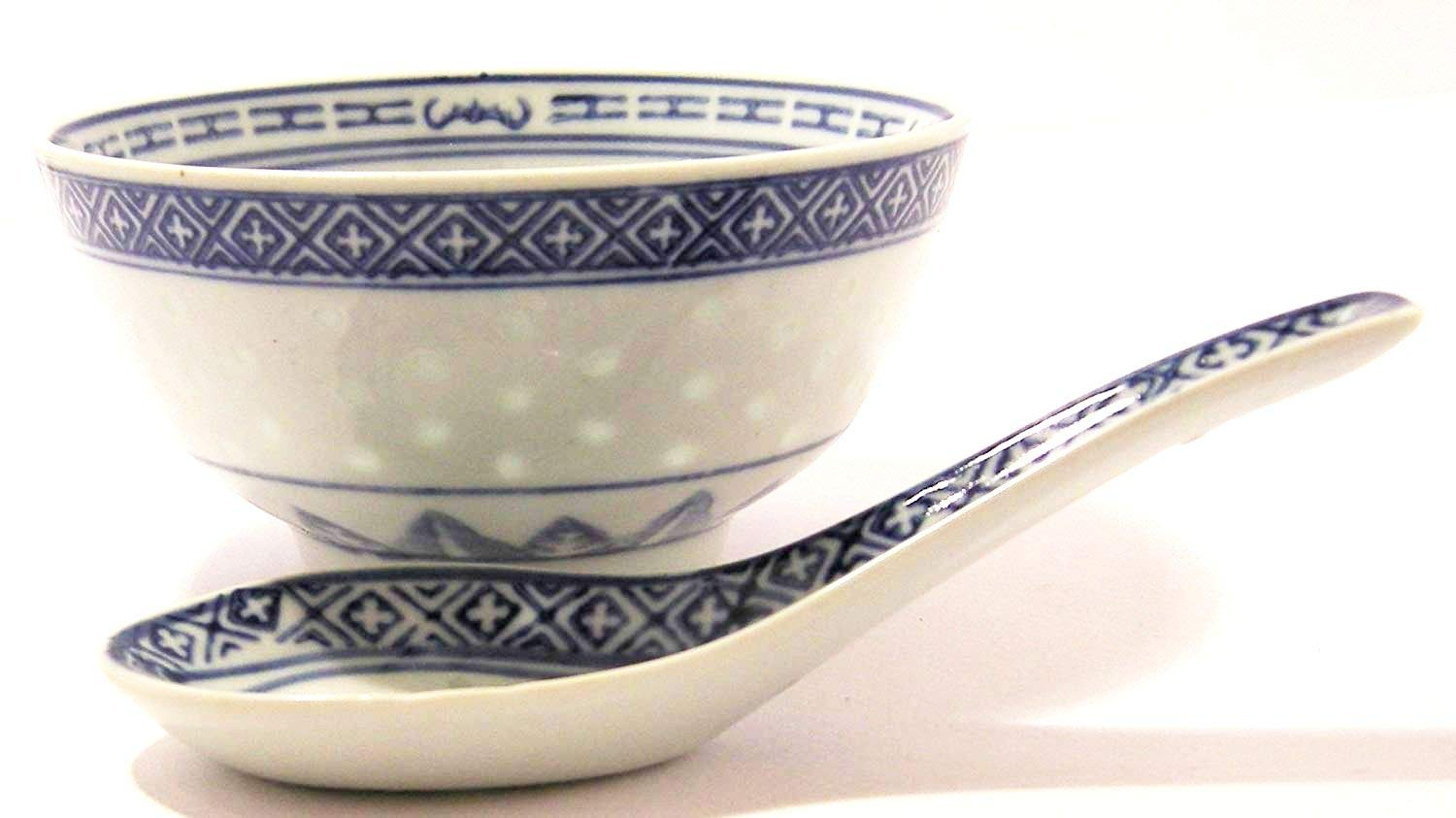 Bowl & Spoon set Ceramic Rice Pattern Guaranteed quality Cookware company 1620a Fc1620aG