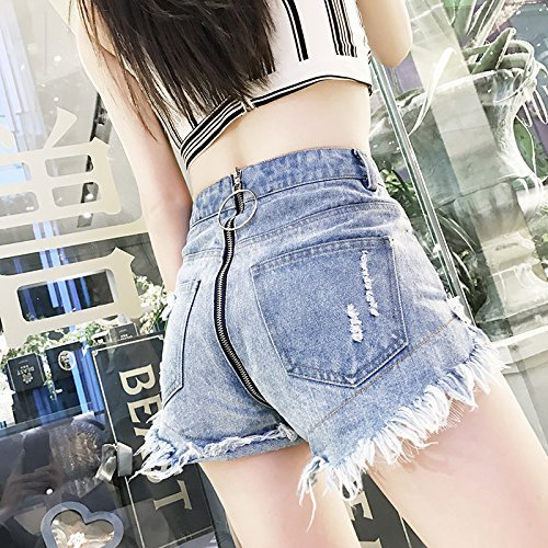 Mujeres Cintura Ca Yyjzjw De Anillos Las Azul Cremallera Pantalones Faldas Mezclilla Cortos La Verano Completa qntzxOwIZ