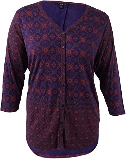 Lucky Brand Womens Plus-Size Printed Top