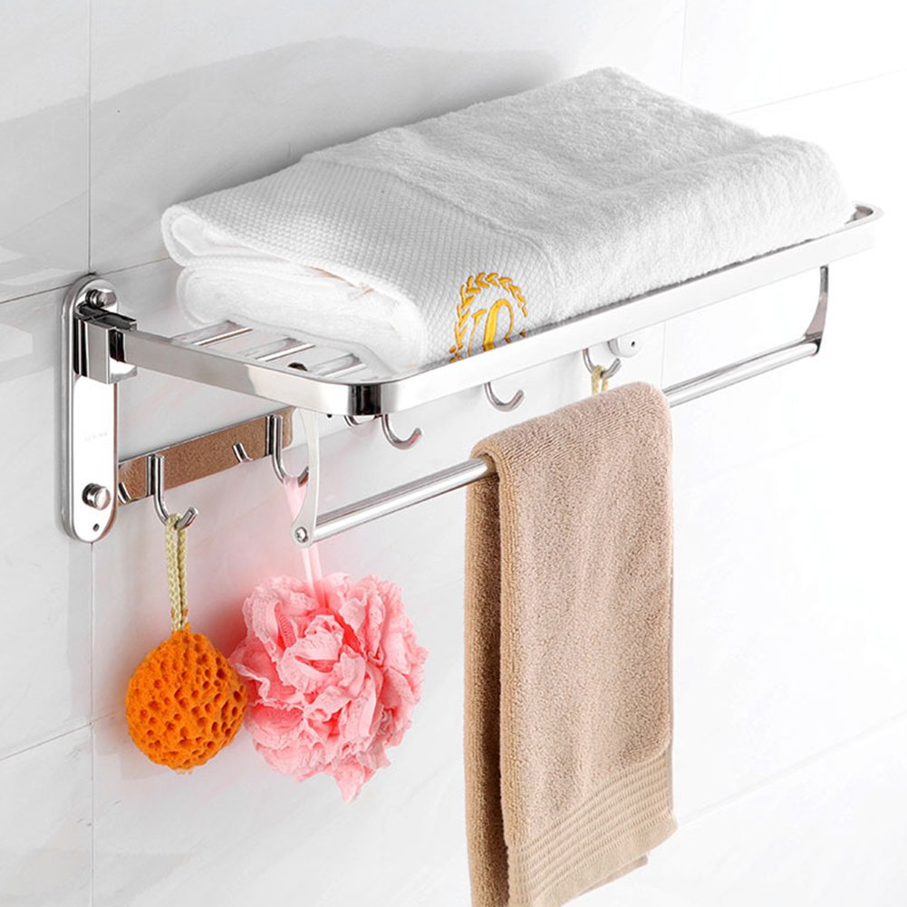 Amyove Bath Holder Creative Stainless Steel Wall Mounted Bathroom Towel Shower Storage Shelf with Hooks 60cm